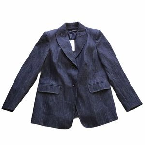 Marina Rinaldi Denim Pick Stitch Blazer Jacket